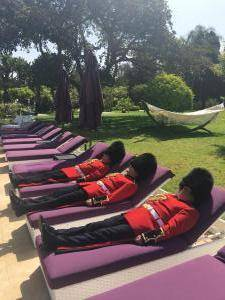 Sunbathing Guardsman British on Holiday