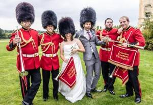 Bride in a bearskin soldier